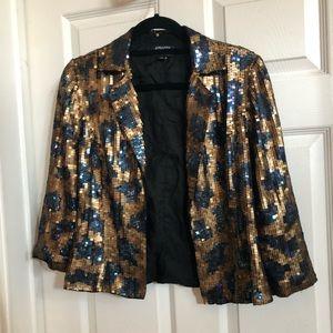 Adriana Pappel sequin leopard blazer jacket sz 10